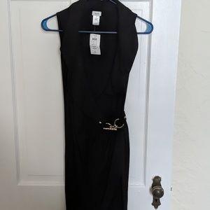 NWT Cache Collared Black Wrap Dress w Gold Latch
